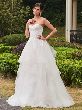 High Quality Appliques Sweetheart A Line Wedding Dress & Wedding Dresses under 300