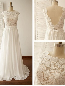 Beautiful Jewel Appliques A Line Chiffon Wedding Dress & inexpensive Wedding Dresses