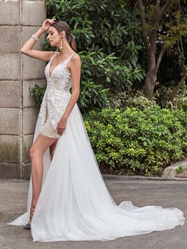 Sexy V Neck Appliques  Backless Wedding Dress & attractive Wedding Dresses
