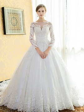 Beautiful Appliques Long Sleeves A Line Cathedral Train Wedding Dress & colorful Wedding Dresses