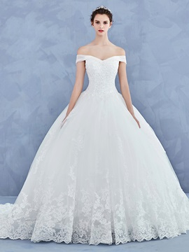 Beautiful Off The Shoulder Appliques Beaded Ball Gown Wedding Dress & vintage style Wedding Dresses