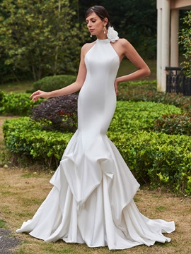Amazing High Neck Flower Mermaid Wedding Dress & Wedding Dresses under 500