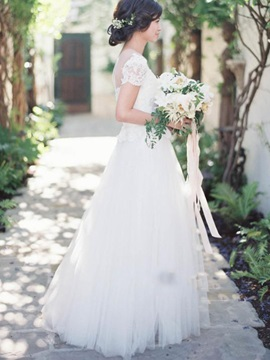 High Quality Illusion Neckline Short Sleeves  Wedding Dress & colored Wedding Dresses