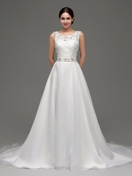 Classic Scoop Beaded Lace A Line Wedding Dress & petite Wedding Dresses