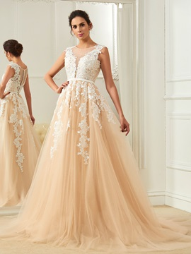 Amazing Scoop Appliques A Line Color Wedding Dress