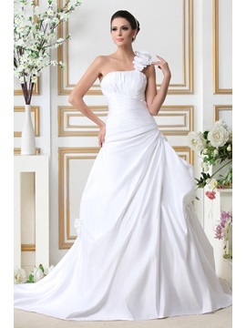 Fantastic A-line One-shoulder Sleeveless Floor-Length Taline's Wedding Dress & vintage style Wedding Dresses