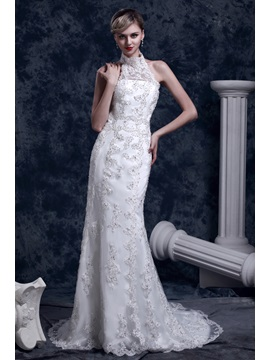 Gorgeous Lace Trumpet/Mermaid High-Neck Chapel Dasha's Wedding Dress & modern Wedding Dresses