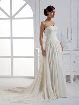 Charming A-line Floor-length Strapless Chapel Train Wedding Dress & Wedding Dresses for sale