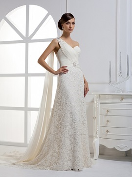 Attractive One-shoulder A-line Watteau Floor-length Wedding Dress & colorful Wedding Dresses