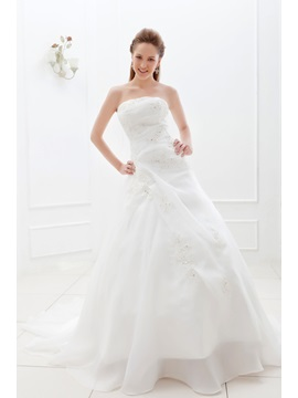 A-Line/Princess Strapless Floor-length Chapel Appliques Ela's Bridal Gown & Wedding Dresses 2012