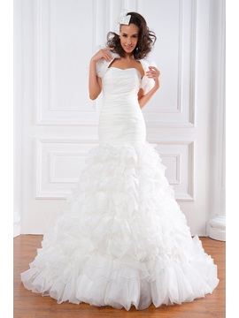 Exquisite Trumpet/Mermaid Strapless Floor-length Tiered Renata's Plus Size Wedding Dress With Jacket/Shawl & formal Wedding Dresses
