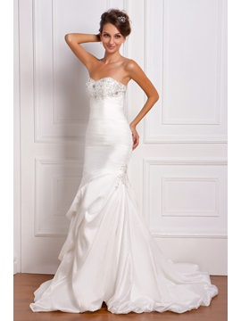 Gorgeous Trumpet/Mermaid Sweetheart Sleeveless Ruched Floor-Length Chapel Miriama's Wedding Dress & unique Wedding Dresses