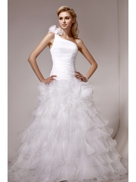 Gorgeous A-line One-Shoulder Tiered Court Train Tiered Dasha's Wedding Dress & inexpensive Wedding Dresses