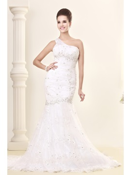 Mermaid One-shoulder Beading Mermaid Chapel Train Lace Sandra's Wedding Dress & Wedding Dresses under 300