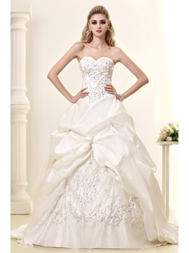 Pretty A-Line Sweetheart Embroidery & Pick-ups Court Train Dasha's Wedding Dress & Wedding Dresses under 500