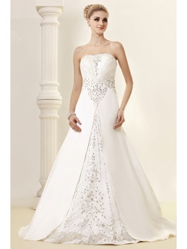 Glorious A-line Strapless Chapel Appliques Dasha's Wedding Dress & Wedding Dresses for less