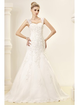 Fantastic Straps Mermaid Floor-Length Chapel Appliques Dasha's Wedding Dress & Wedding Dresses from china