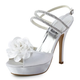 Honey White Satin Upper Stiletto Heels Sling-back Peep-toe Wedding Bridal Shoes