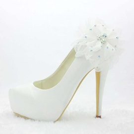 Noble Satin Stiletto Heel Applique Wedding Shoes