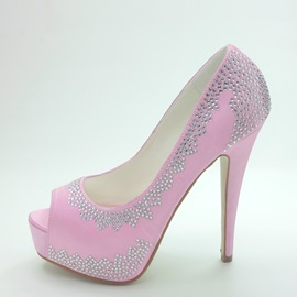 Sweet Platform Peep Toe Stiletto Heels Prom Shoes