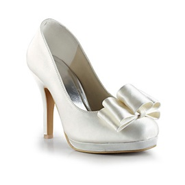 Cheap Closed Toe Satin Women Wedding Shoes