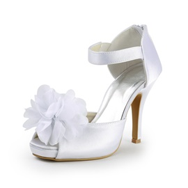 New White Stiletto Heels Wedding Shoes