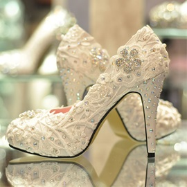 Luxurious Top Quality Lace Flower Rhinestones Wedding Shoes