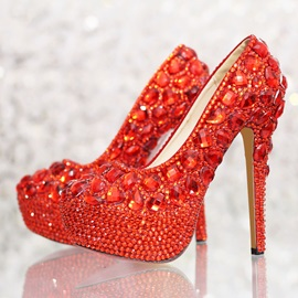 Luxurious Closed Toe Red Crystal Stiletto Heel Wedding Shoes
