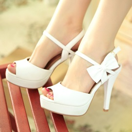 Inexpensive Lovely Bowknot Open Toe White Wedding Shoes