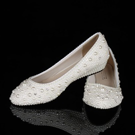 Cute Pearl Wedge Heel Wedding Shoes