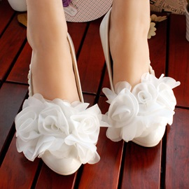 White Lace Flower Wedding Bride Shoes