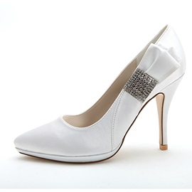 Simple Style Bowknot Beading High Heel Wedding Shoes