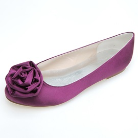 Cozy Silk Fabric Flower Flat Wedding Shoes
