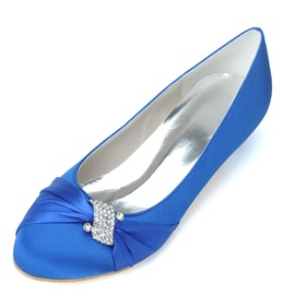 New Shinning Pure Color Low Heels Rhinestone Satin Wedding Shoes