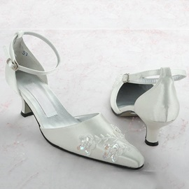 Dazzling Beaded Appliques Point Toe Satin Wedding Shoes