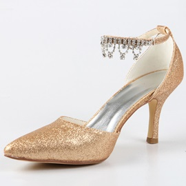 Shinning Golden PU Stiletto Heel Bridal Shoes