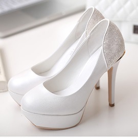 Classy Round Toe Platform High Heel Wedding Shoes
