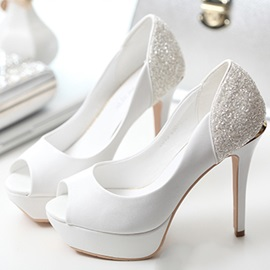 Trendy Peep Toe Platform High Heel Wedding Shoes