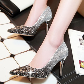 Sensual Point Toe Sequin PU Wedding Shoes