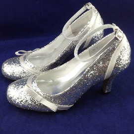 Round Toe Bowtie Strap Silver Sequined Wedding Shoes