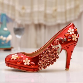 Crystal Round Toe Satin Wedding Shoes
