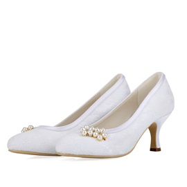 Beading Charmeuse Low Heel Bridals Shoes