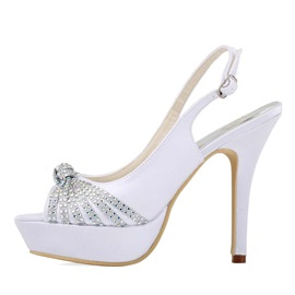 Rhinestone Peep-Toe Slingback Wedding Shoes