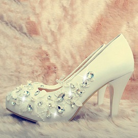 Rhinestone Applique Slip-On Bridal Shoes