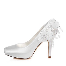 Rhinestone Applique Satin Wedding Shoes