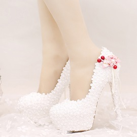 Lace Appliques Slip-On Thread Stiletto Heel Wedding Shoes
