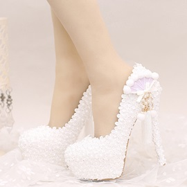 Lace Appliques Platform Tassel Stiletto Heel Wedding Shoes
