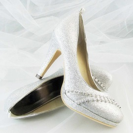 Silvery Sparkling Glitter Upper Stiletto Heel Wedding Shoes