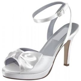 Satin Upper Stiletto Heel Peep-toes With Bowknot Wedding Shoes