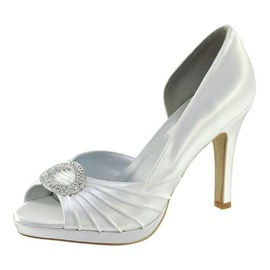 Leatherette Upper Stiletto Heel Peep-toes With Rhinestone Wedding Shoes